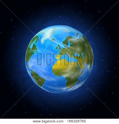 Cosmic Earth view on dark background, vector illustration
