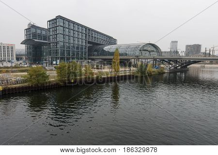 BERLIN - NOVEMBER 30 2015: Berlin Central Station. The central station of Berlin - the largest and modern railway station of Europe.