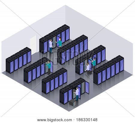 Isometric datacenter hosting servers room concept with professional engineers and technicians vector illustration