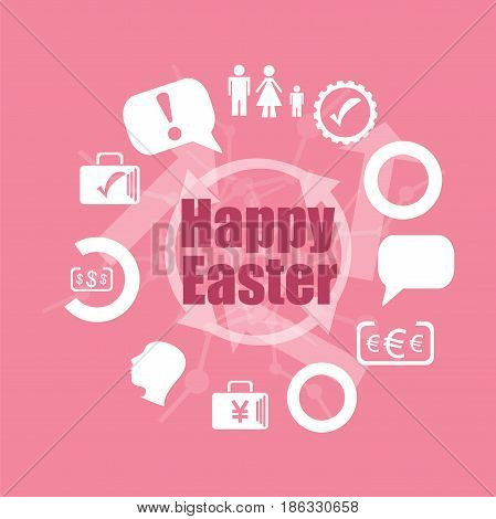 Text Happy Easter. Holiday Concept . Icons Set. Flat Pictogram. Sign And Symbols For Business, Finan