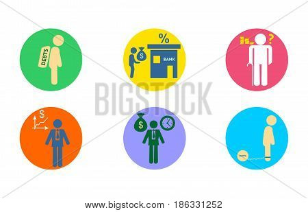 Illustration in the style of a flat design on the theme of economy.