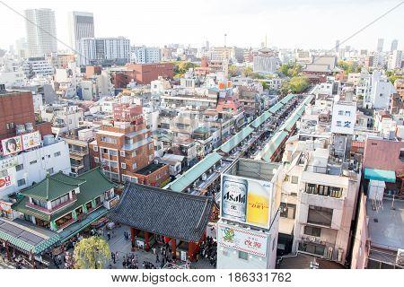 TOKYO JAPAN - April 232017: High view of Asakusa Sensoji Temple and Nakamise road in Asakusa Tokyo.