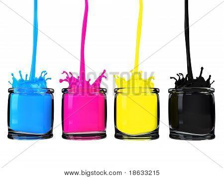 cmyk paint in glass vessel