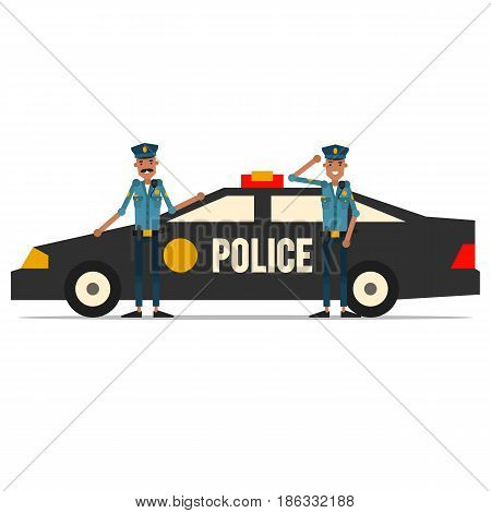 Two american policemen with a patrol car. Vector illustration isolated on white background.