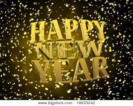 Happy New Year golden font