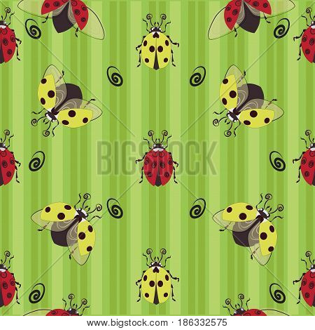 Ladybugs. Red and yellow. Seamless pattern. Ladybug on the striped background, the character from children's cartoons. Design for textiles, tapestries, packaging, environmental poster