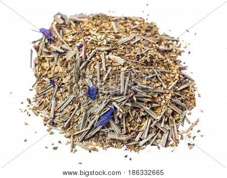 Paraguayan mate tea with addition of flowers monarda on a white background