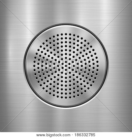 Metal technology background with abstract circle perforated audio speaker with and polished, brushed texture, chrome, silver, steel, aluminum for design concepts, interfaces. Vector illustration.