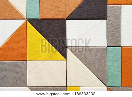 Colorful multicolored geometric pattern of soundproofing wall