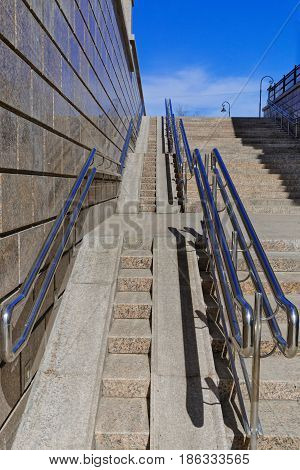 Russia Siberia the city of Omsk a wheelchair ramp in central area