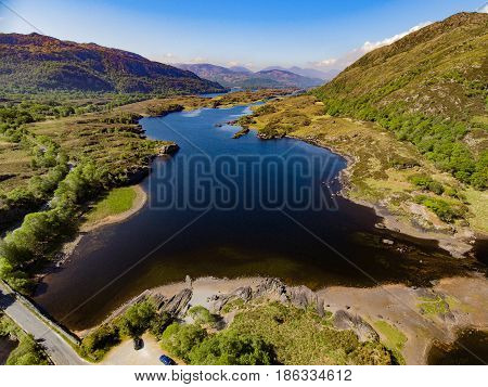 Aerial View Killarney National Park On The Ring Of Kerry, County Kerry, Ireland. Beautiful Scenic Ae