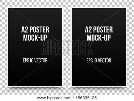 A2 black posters realistic template, mock-up with margins, realistic shadow and transparent background for design concepts, presentations, web, identity, prints. Vector illustration.