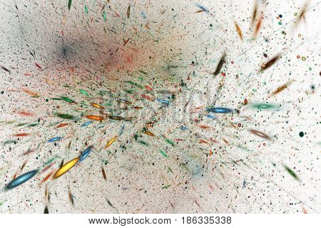 Abstract Blue, Red, Green And Yellow Sparkles On White Background. Fantasy Fractal Texture. Digital