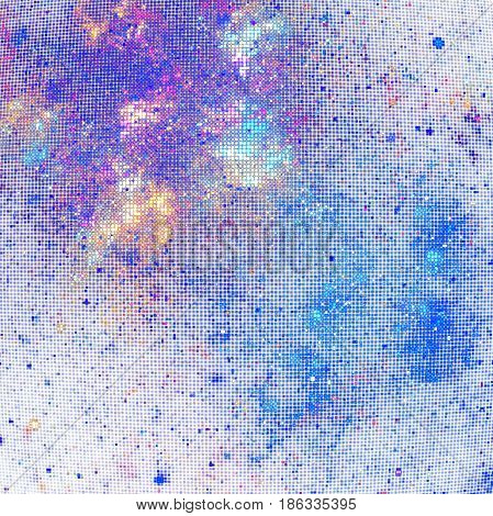 Abstract Glittering Geometric Texture With Orange, Blue And Purple Sparkles On White Background. Fan