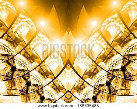 Abstract Intricate Golden Mosaic Ornament. Fantasy Symmetrical Fractal Background. Digital Art. 3D R