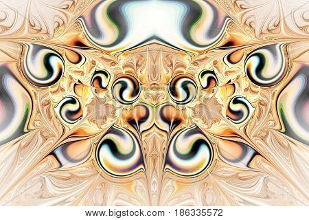 Abstract Gems On White Background. Fantasy Symmetrical Fractal Texture In Golden, Black And Green Co