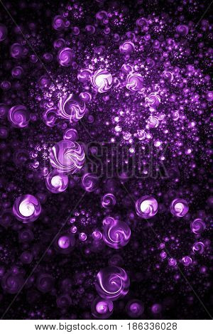 Abstract Intricate Spiral Texture In Bright Purple Colors. Digital Fractal Art. 3D Rendering.