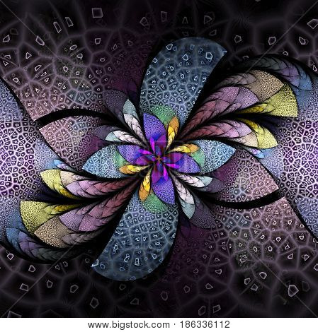 Exotic Flower With Textured Petals. Abstract Symmetrical Floral Design In Blue, Purple, Yellow And P