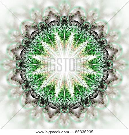Abstract Exotic Flower On White Background. Psychedelic Mandala Design In Grey And Green Colors. Fan