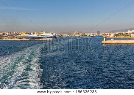 Piraeus Greece - October 2015: Ferries in the passenger port of Piraeus Athens.
