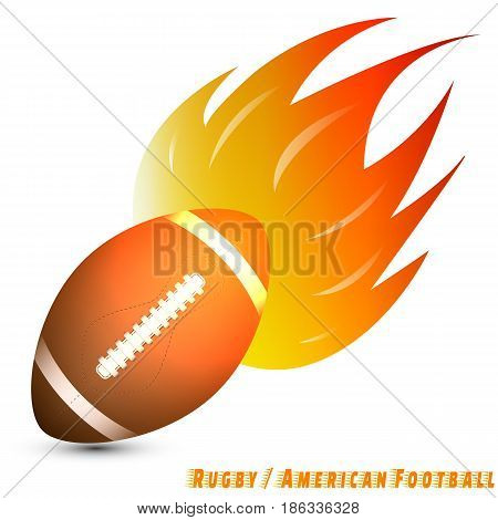 rugby ball or american football ball with red orange yellow tone of the fire in white background. rugby/american football logo club. vector. illustration. graphic design. basic red green blue.
