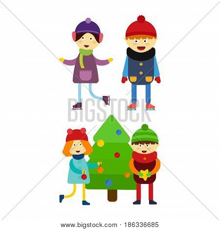 Christmas kids playing winter games skating cartoon new year winter holidays characters vector illustration. Holiday toy scarf friend greeting december costume.
