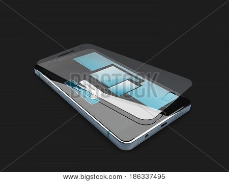 Screen Protector Film Or Glass Cover Isolated On Black Background. 3D Illustration