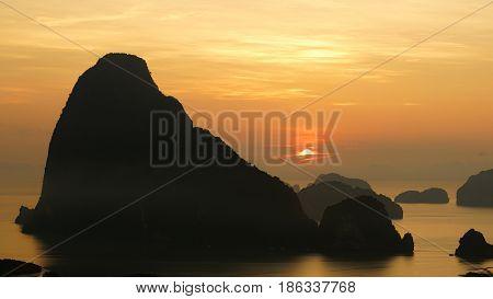 Sunrise view over Samed-Nang Chee Island Phang Nga Province Thailand.