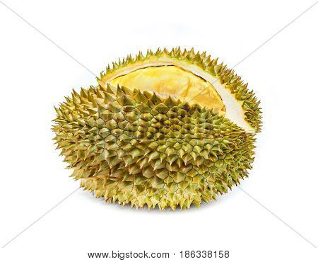 Durian Mon Thong the most popular thai fruit isolated in white background