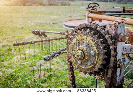 Old Rusty Species Of Part Of Agricultural Machinery In Rural Areas.