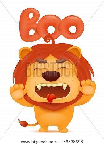 Lion cartoon emoji character saying boo. Vector illustration