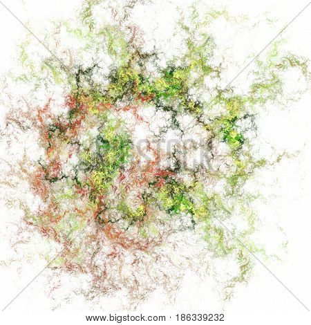 Abstract Swirly Fractal Texture In Green And Orange Colors. Digital Art. 3D Rendering.