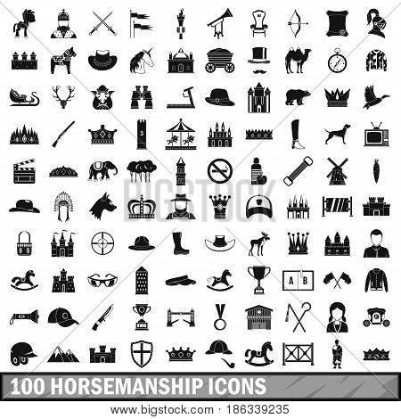 100 horsemanship icons set in simple style for any design vector illustration