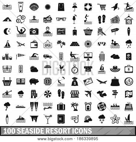 100 seaside resort icons set in simple style for any design vector illustration