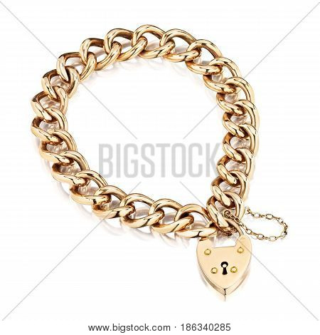 Gold Bracelet with Pendant Isolated on White Background. Golden Jewellery. Gold Bracelet. Gold Chain Bangle