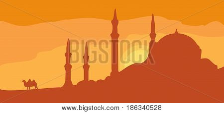 Panorama minarets and sunset sky with camel. Vector flat color illustration. For horizontal banner