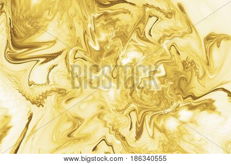 Abstract Golden Marble Texture. Fantasy Fractal Background In Yellow Colors. Digital Art. 3D Renderi