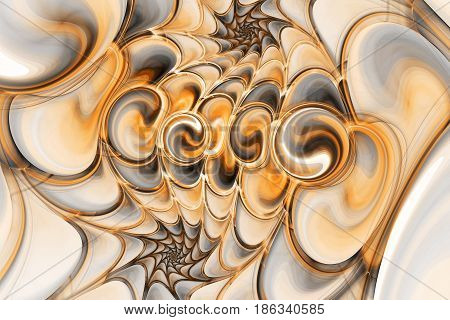 Abstract Gems On Black Background. Fantasy Fractal Texture In Orange, Brown And Grey Colors. Digital