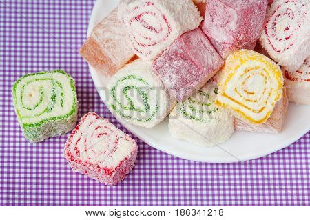 Turkish Delight Lokum.Sweet Turkish delight lokum traditional dessert. poster