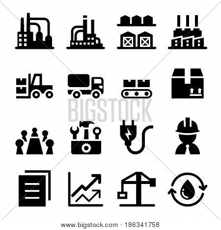 Industrial Factory icon set vector illustration Graphic design