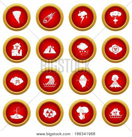 Natural disaster icon red circle set isolated on white background