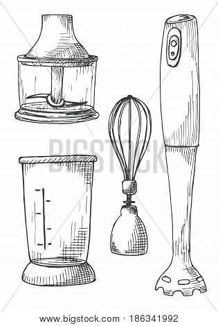 Blender with spare parts isolated on white background. Vector illustration of a sketch style.
