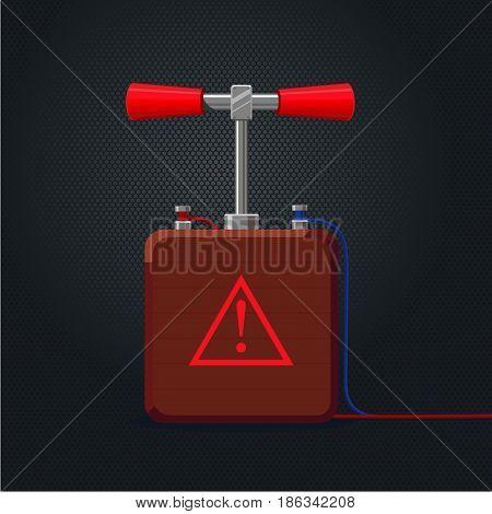 Cartoon illustration. Vintage handle detonator for dynamite.