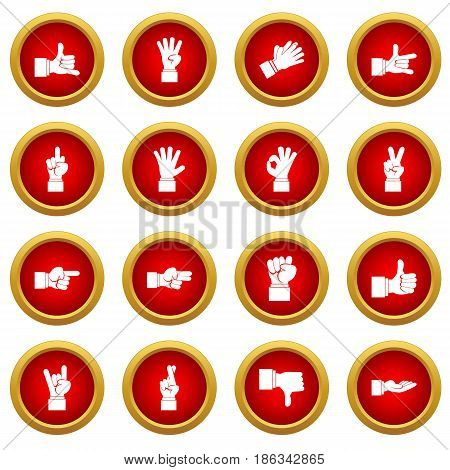 Hand gesture icon red circle set isolated on white background