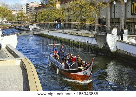 AVEIRO PORTUGAL - MARCH 21 2017: City canal and Vouga river Aveiro Portugal on March 21 2017