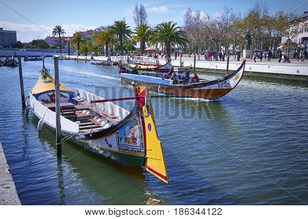 Aveiro, Portugal - March 21, 2017: The Main City Canal View And Vouga River With Traditional Boats O
