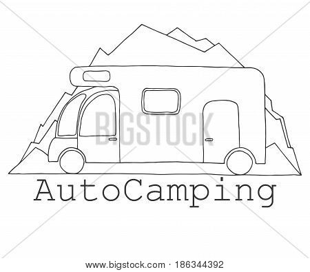 Camper on a background of mountains. Emblem logo car camping. Hand drawn vector illustration of a sketch style.