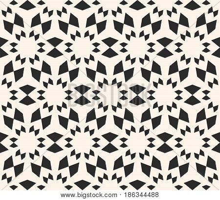 Vector seamless texture, floral tile pattern. Abstract monochrome geometric background with simple geometrical shapes, flowers, stars. Oriental design element for decor, textile, furniture, clothes, fabric, package