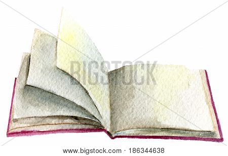 watercolor sketch of open book isolated on white background