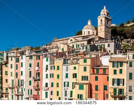 Typical colored houses in the seafront of Portovenere small village in Liguria (northern Italy); it is called